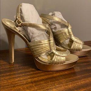 BCBG gold platform heel!